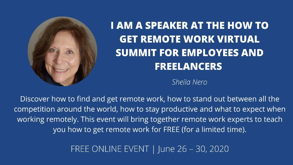 """Business Card with Sheila Nero Bio for """"how to Get Remote Work Virtual Summit for Emplyees ad Freelancers"""""""